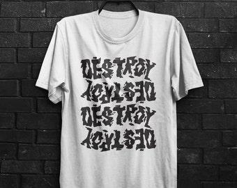 Destroy 70's 80's UK Punk Rock Motif Print Logo Vicious Johnny Rotten Pistols Mens & Women's T-shirt Top Tee Shirt All Sizes And Colours