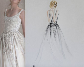 Custom Wedding Fashion Illustration