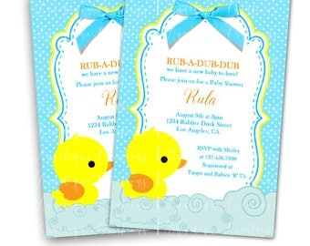 Polka Dots Rubber Ducky Baby Shower Invitations & Blank Digital Thank You Card to match