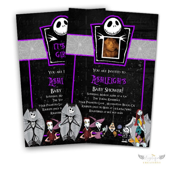 Purple Nightmare Before Xmas Invitations & Blank Thank You Card to match