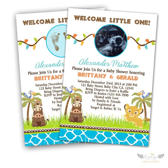 Lion King Invitations & Blank Thank You Card to match
