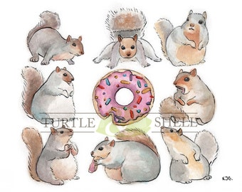 Custom Watercolor Donut Squirrels 8x10 Print