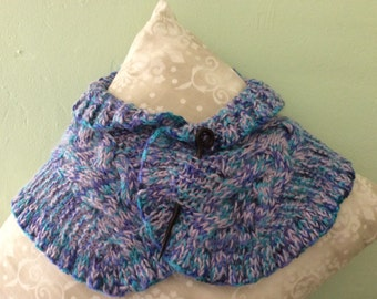 Soft Hand Knit Scarf in shades of Turquoise, Lavender and Purple