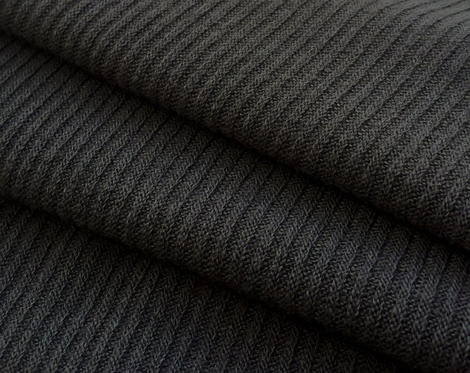 2x2 Rib Knit Fabric by the Yard (Wholesale Price Available By the Bolt) Premium Quality- 10007 Charcoal - 1 Yard