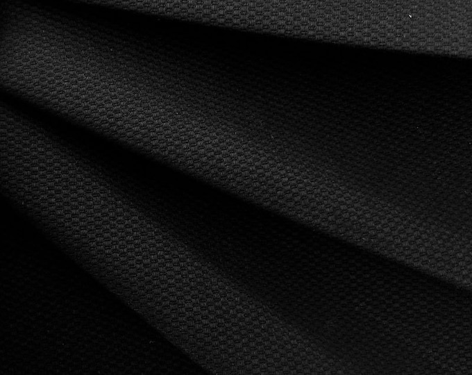 Honeycomb Cotton Spandex Pique Woven Fabric (Wholesale Price Available By the Bolt) USA Made Premium Quality- 10051 Black- 1 Yard