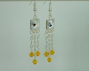 Sterling Silver Rhinestone and Swarovski Crystal Beaded Dangle Earrings