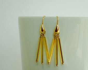 Gold Sparkle Glass Beaded Gold Plated Earrings
