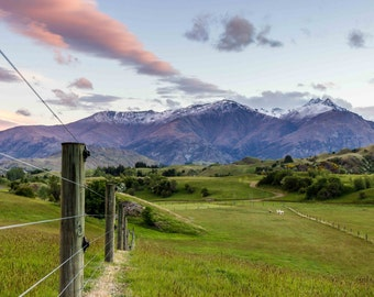 Digital download photo of a sunset over the mountains in Queenstown, New Zealand