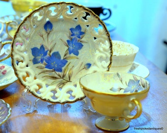 Luster Blue Blossoms Tea Cup and Saucer Cherry China Made in Japan