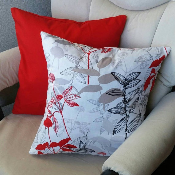 Items similar to White, red, black, grey, leaf pattern throw pillow 16x16 on Etsy