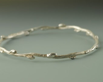 Silver Branch Bangle, Twig Bracelet, SINGLE Willow Branch Bangle, Lost Wax Cast Twig, Boho Chic