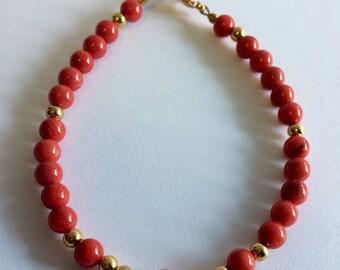 Stacking bracelets, dainty bracelet, bamboo coral bracelet, red bracelet