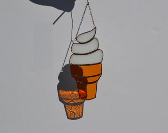 Stained glass suncatcher ice cream cone hanging from silver steel chain