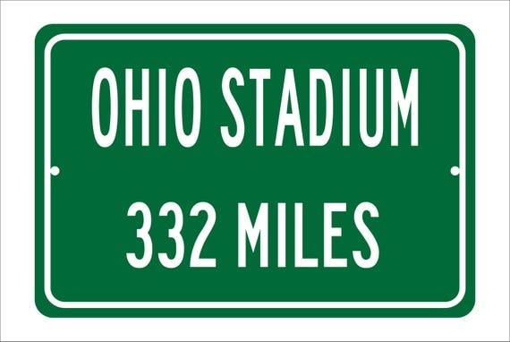 Custom College Highway Distance Sign to Ohio Stadium | Home of the Ohio State Buckeyes | Personalized Distance to Ohio Stadium | OSU |