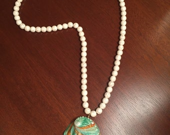 Handcrafted abalone seashell necklace