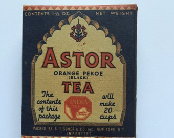 Blue and Red Vintage Astor Tea Box 1930's  unopened