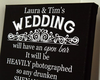 Personalised wedding funny open bar drinking sign custom picture prop