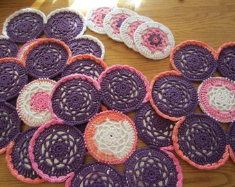 Purple Crocheted CD 4 Placemat Set, Recycled CDs, Flower Power Placemat, Placemat Set