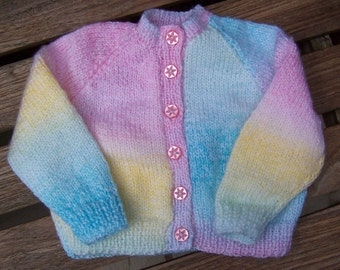 """Handmade Round necked Baby Cardigan 6-9 months-20"""" chest, Hand knitted Marble Effect Baby Jacket"""