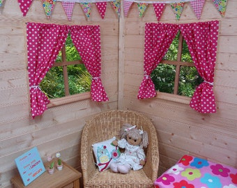 Hot Pink Dotty Playhouse Curtains