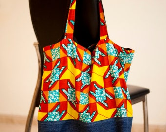Large handmade Holland wax cotton Tote Bag, with recycled jeans