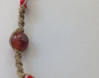 Agate and Vintage Red Czech Glass Anklet