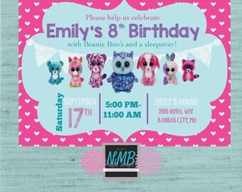 Beanie Baby Boo Birthday 5x7 invitation