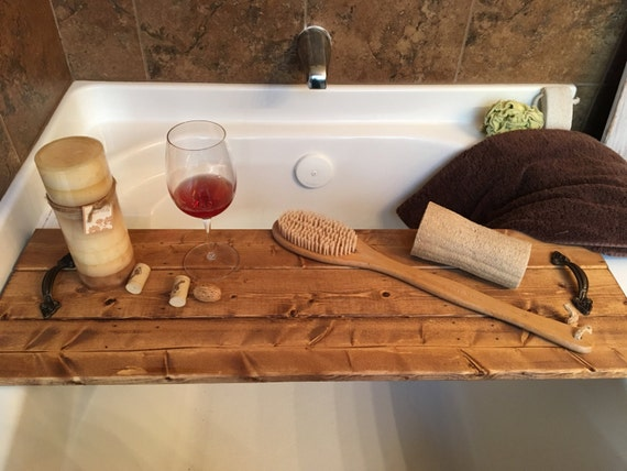 Bath tray tub tray custom tray relax bath area rustic for Bathroom tray decor