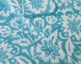 10 Yard Light Weight  Cotton Fabric Indian Hand Block Floral Print Fabric Hand Down Handmade Running Fabric