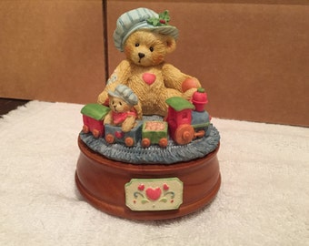 Cherished Teddies Musical Figurine - Santa Claus Is Coming to Town 1993