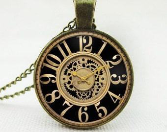 Non Working Clock Pendant Necklace Vintage