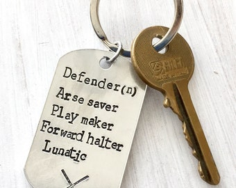 Hockey Keyring, defender Keyring, personalised gift, field hockey, hockey accessories, sport gift idea
