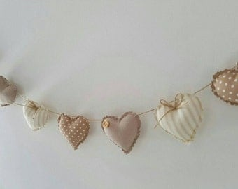 Hand Made Shabby Chic 7 Heart fabric Garland Bunting Beige Spots & Stripes