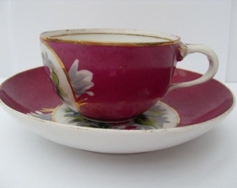 Vintage Russian Porcelain Tea Cup and Saucer 1900
