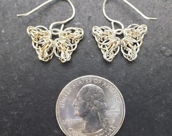 Celtic Butterfly Earrings in Sterling Silver & 14kt Gold Fill