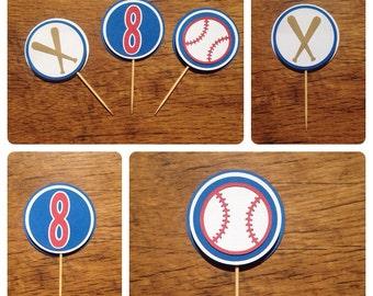 Cupcake toppers, Baseball themed cupcake toppers. Baseball toppers, baseball themed birthday party, baseball party, 12 cupcake toppers.