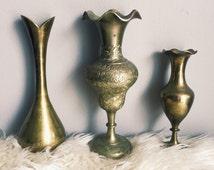 Trio of Vintage Solid Brass Vases