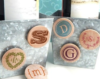 Wedding Favor Magnets, Monogram Wooden Magnets -  Set of 25