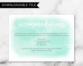 Custom Watercolor Mint Teal Blue Green Accommodation Card Insert Wedding Invitation Suite