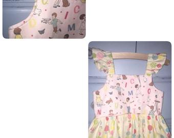 Ruffle shoulder girls alphabet dress