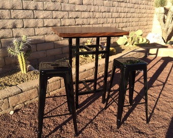 Walnut Butcher Block Bistro Table with 2 stools.