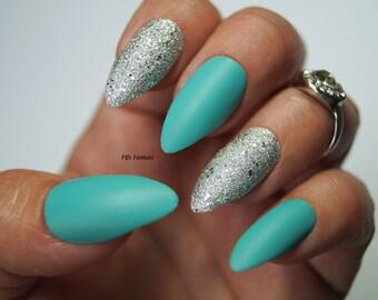 Pointy nails etsy pastel blue stiletto nails nail designs nail art stiletto nails false nails prinsesfo Choice Image