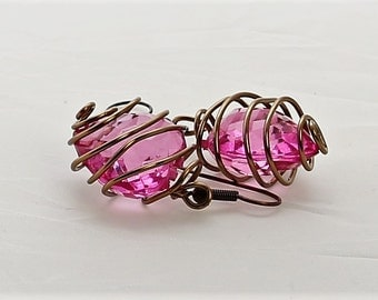 Pink Heart in  Wire Cage Earrings