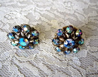 Rhinestone screw on earring