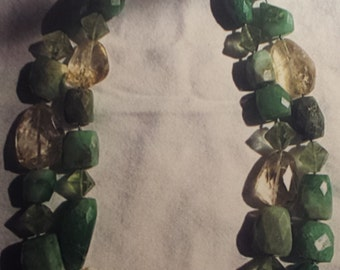Chrysoprase/Citrine/Prehnite Necklace