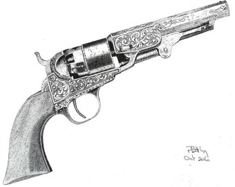 Pen & Ink Drawing, A4 - Engraved Colt Navy Pistol