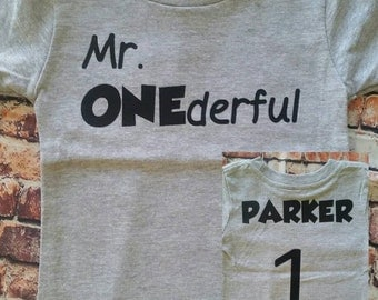 Mr. ONEderful Tshirt, First birthday shirt, boys birthday, personalized shirt, custom name shirt, personalized jersey, Jersey birthday shirt
