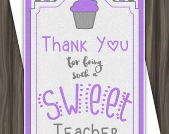 Sweet Teacher - Purple - Thank  You Card - 5x7 - DIGITAL DOWNLOAD