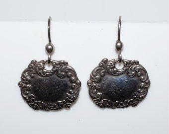 Antique Sterling Silver Dangle Earrings Marked 925