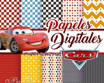 Digital papers Cars + 15 Clipart PNG